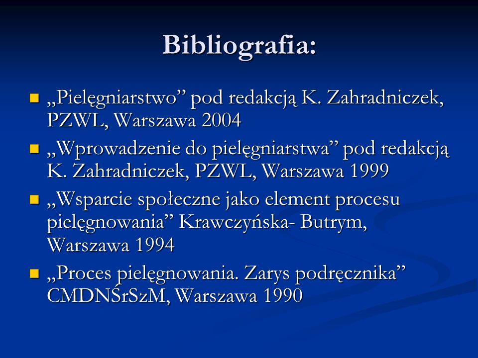 Bibliografia: Pielęgniarstwo pod redakcją K. Zahradniczek, PZWL, Warszawa 2004 Pielęgniarstwo pod redakcją K. Zahradniczek, PZWL, Warszawa 2004 Wprowa