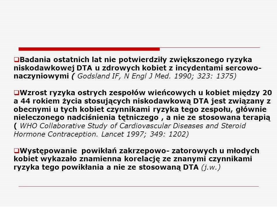 Badania ostatnich lat nie potwierdziły zwiększonego ryzyka niskodawkowej DTA u zdrowych kobiet z incydentami sercowo- naczyniowymi ( Godsland IF, N Engl J Med.