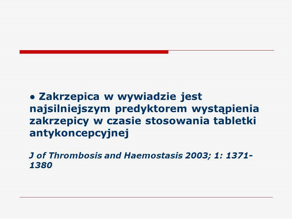 Zakrzepica w wywiadzie jest najsilniejszym predyktorem wystąpienia zakrzepicy w czasie stosowania tabletki antykoncepcyjnej J of Thrombosis and Haemostasis 2003; 1: 1371- 1380