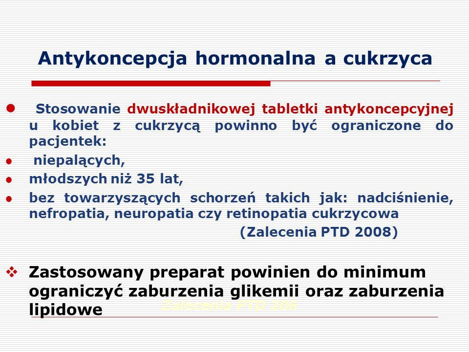Stosowanie dwuskładnikowej tabletki antykoncepcyjnej u kobiet z cukrzycą powinno być ograniczone do pacjentek: niepalących, młodszych niż 35 lat, bez towarzyszących schorzeń takich jak: nadciśnienie, nefropatia, neuropatia czy retinopatia cukrzycowa (Zalecenia PTD 2008) Zastosowany preparat powinien do minimum ograniczyć zaburzenia glikemii oraz zaburzenia lipidowe.