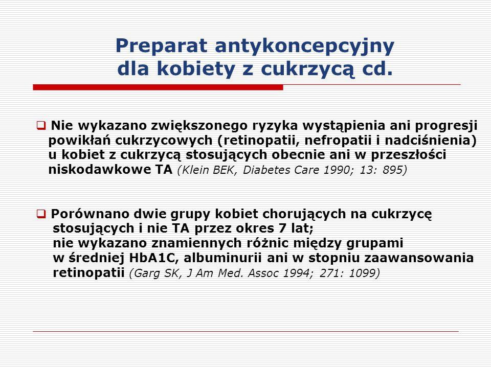Nie wykazano zwiększonego ryzyka wystąpienia ani progresji powikłań cukrzycowych (retinopatii, nefropatii i nadciśnienia) u kobiet z cukrzycą stosujących obecnie ani w przeszłości niskodawkowe TA (Klein BEK, Diabetes Care 1990; 13: 895) Porównano dwie grupy kobiet chorujących na cukrzycę stosujących i nie TA przez okres 7 lat; nie wykazano znamiennych różnic między grupami w średniej HbA1C, albuminurii ani w stopniu zaawansowania retinopatii (Garg SK, J Am Med.