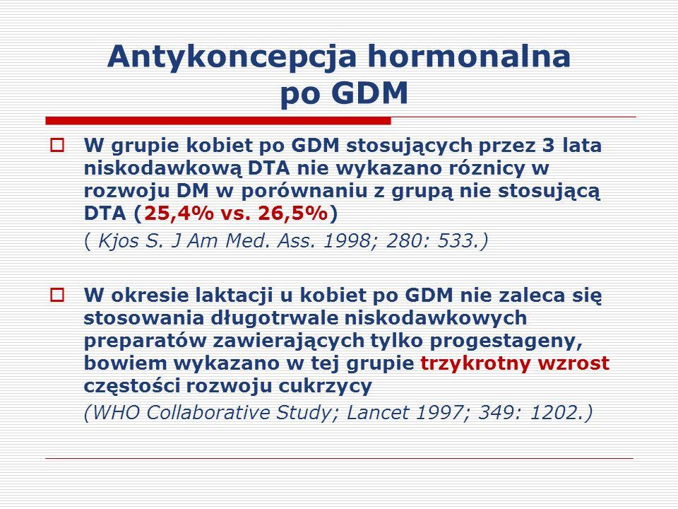 Antykoncepcja hormonalna po GDM W grupie kobiet po GDM stosujących przez 3 lata niskodawkową DTA nie wykazano róznicy w rozwoju DM w porównaniu z grupą nie stosującą DTA (25,4% vs.