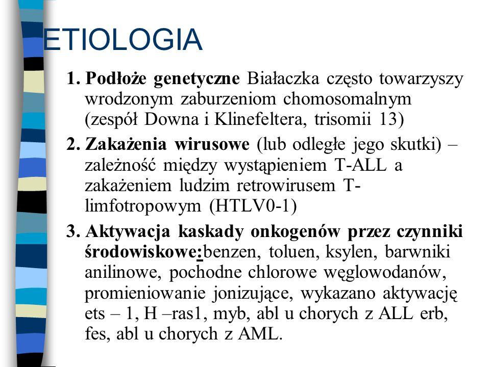 ETIOLOGIA 1. Podłoże genetyczne Białaczka często towarzyszy wrodzonym zaburzeniom chomosomalnym (zespół Downa i Klinefeltera, trisomii 13) 2. Zakażeni