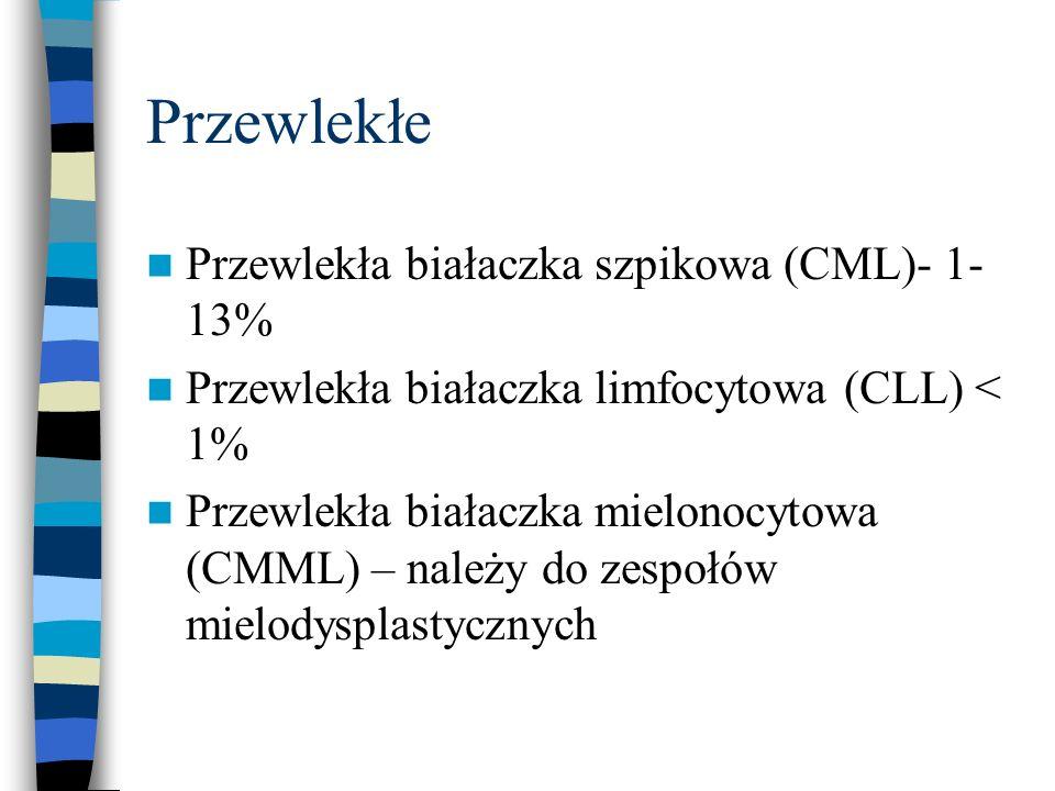 Przewlekłe Przewlekła białaczka szpikowa (CML)- 1- 13% Przewlekła białaczka limfocytowa (CLL) < 1% Przewlekła białaczka mielonocytowa (CMML) – należy