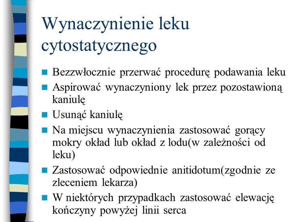 Wynaczynienie leku cytostatycznego Bezzwłocznie przerwać procedurę podawania leku Aspirować wynaczyniony lek przez pozostawioną kaniulę Usunąć kaniulę