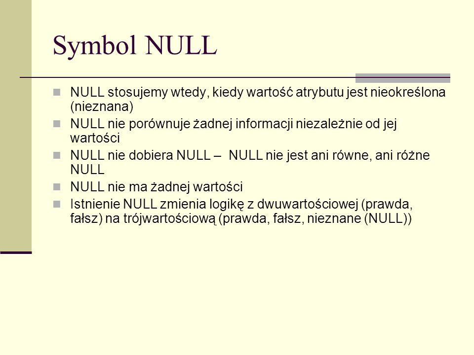 Symbol NULL NULL stosujemy wtedy, kiedy wartość atrybutu jest nieokreślona (nieznana) NULL nie porównuje żadnej informacji niezależnie od jej wartości