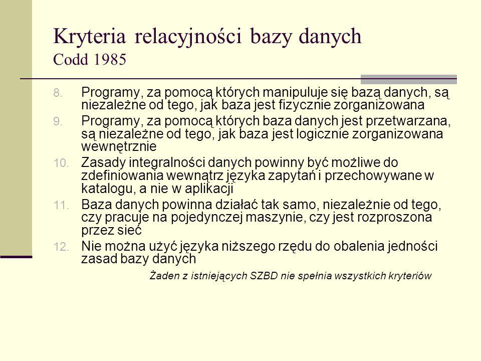 Kryteria relacyjności bazy danych Codd 1985 8. Programy, za pomocą których manipuluje się bazą danych, są niezależne od tego, jak baza jest fizycznie