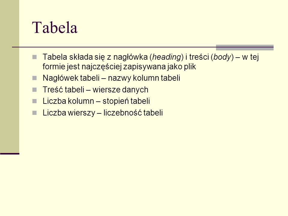 Tabela Tabela składa się z nagłówka (heading) i treści (body) – w tej formie jest najczęściej zapisywana jako plik Nagłówek tabeli – nazwy kolumn tabe