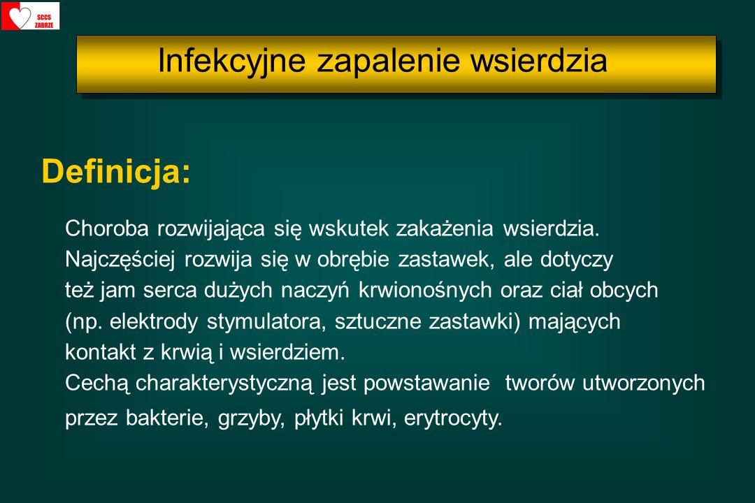 incydenty zatorowe powikłania płucne: zatorowość płucna, zapalenie płuc ostre niedomykalności zastawkowe zapalenie mięśnia sercowego ostra niewydolność nerek jako konsekwencja: - kłębuszkowego zapalenia nerek - niestabilności hemodynamicznej - toksycznego działania antybiotyków - zawałów i zatorów nerkowych - pooperacyjna niewydolność nerek Powikłania IZW: Infekcyjne zapalenie wsierdzia