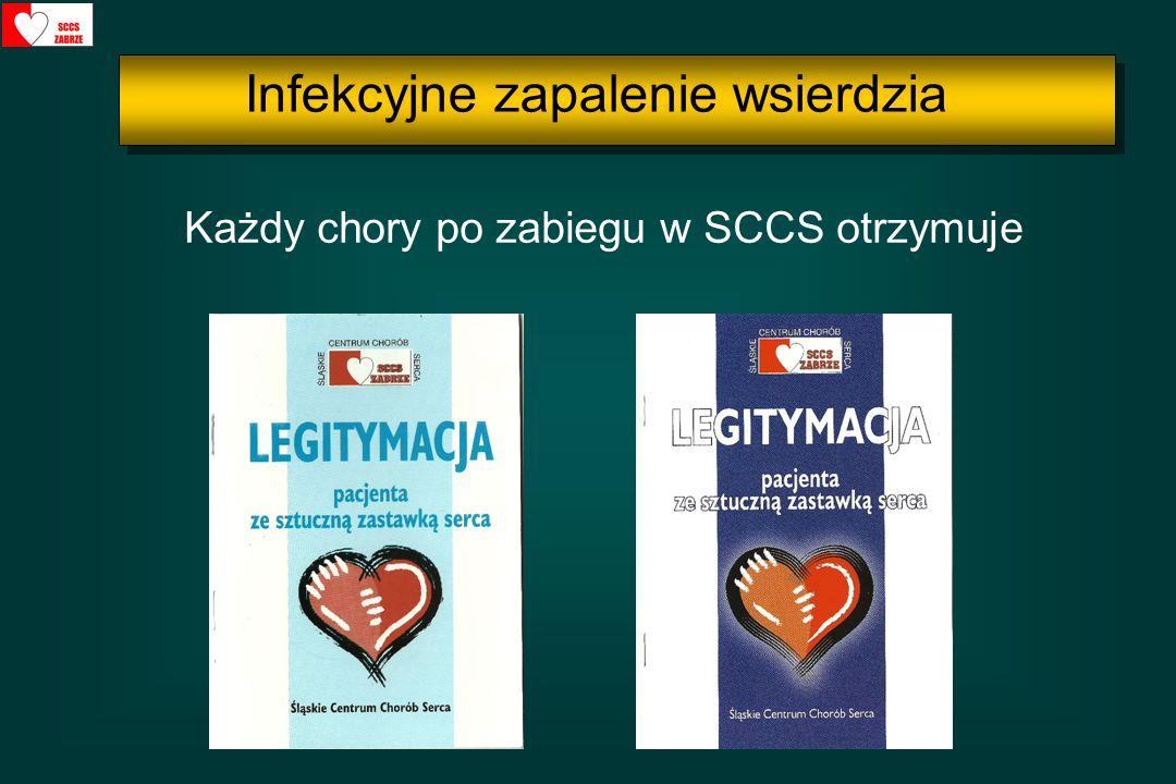Każdy chory po zabiegu w SCCS otrzymuje Infekcyjne zapalenie wsierdzia