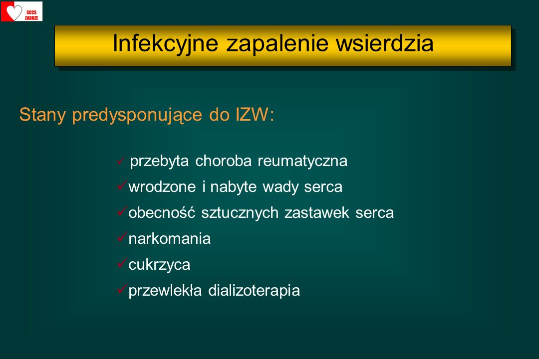 Profilaktykę IZW należy rozważy ć (klasa zalecenia IIa): - tylko przed zabiegami stomatologicznymi wymagającymi manipulacji w obrębie dziąsła lub okolicy okołowierzchołkowej zęba bądź naruszenia ciągłości błony śluzowej - ekstrakcja zęba, - zabiegi w obrębie przyzębia - leczenie kanałowe - usuwanie kamienia nazębnego - implantacja zęba Profilaktyka IZW Profilaktyka IZW wg wytycznych ESC 2009 Infekcyjne zapalenie wsierdzia