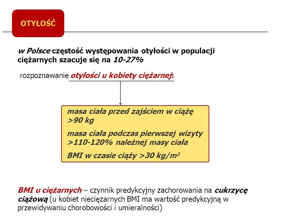 OTYŁOŚĆ zaburzenia metaboliczne u otyłej ciężarnej: OTYŁA CIĘŻARNA dyslipidemia: TG HDL hiperinsulinemia podwyższone stężenie leptyny przewlekły stan zapalny: IL-6 CRP dysfunkcja śródbłonka nadciśnienie w ciąży odległe powikłania: choroby układu sercowo-naczyniowego odległe powikłania: cukrzyca typu 2 odległe powikłania u potomstwa jako skutek ekspozycji in utero (DM typ 2)