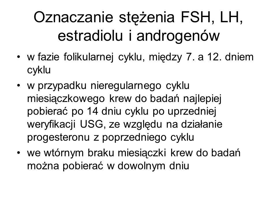 Oznaczanie stężenia FSH, LH, estradiolu i androgenów w fazie folikularnej cyklu, między 7. a 12. dniem cyklu w przypadku nieregularnego cyklu miesiącz