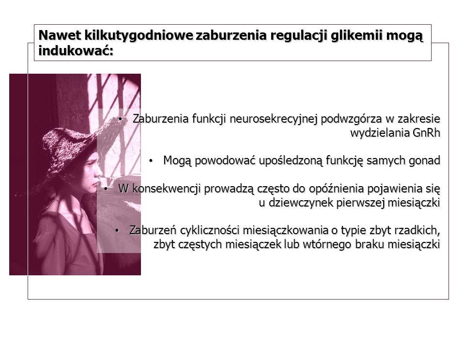 Nawet kilkutygodniowe zaburzenia regulacji glikemii mogą indukować: Zaburzenia funkcji neurosekrecyjnej podwzgórza w zakresie wydzielania GnRh Zaburze