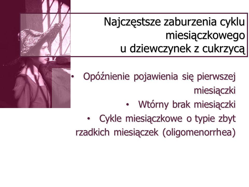 Antykoncepcja a cukrzyca – postępowanie Ocena kontroli glikemii (co 3-4 mies.) Wyeliminowanie innych czynników ryzyka powikłań naczyniowych Kontrola ciśnienia tętniczego, masy ciała (po 1.