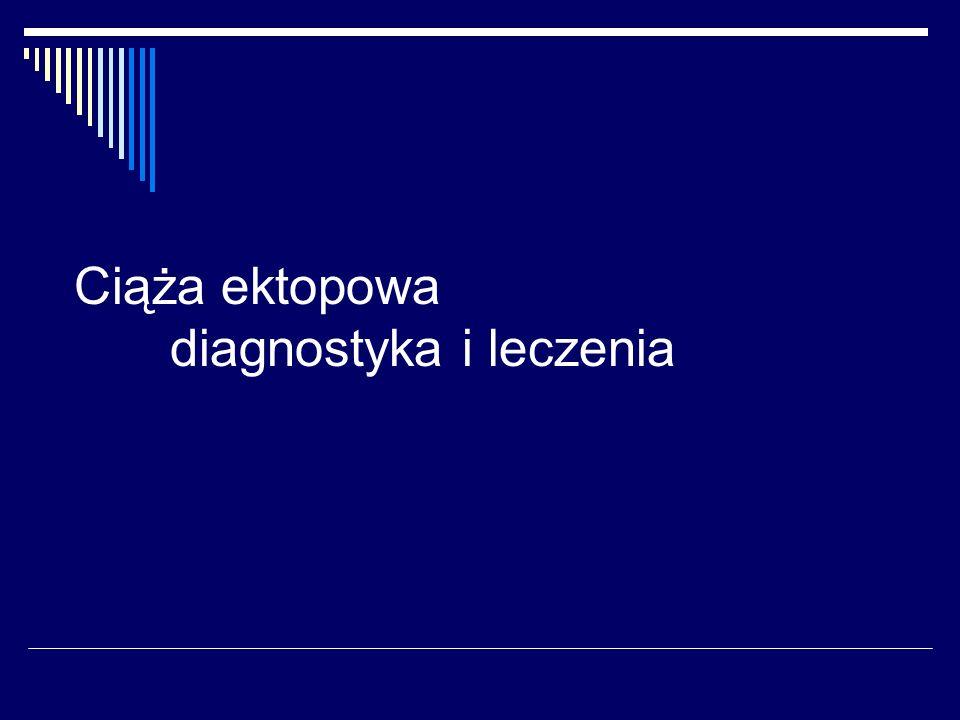 Ciąża ektopowa - czynniki ryzyka Przebyta ciąża ektopowa -wzrost ryzyka 12-18% (Stabile, 1992) zapłodnienie In-vitro -3-4% ciąż pozamacicznych (Nazari, 1993), 1% ciąż heterotopowych (Frates, 1995) operacje na jajowodach IUD palenie papierosów PID Endometrioza