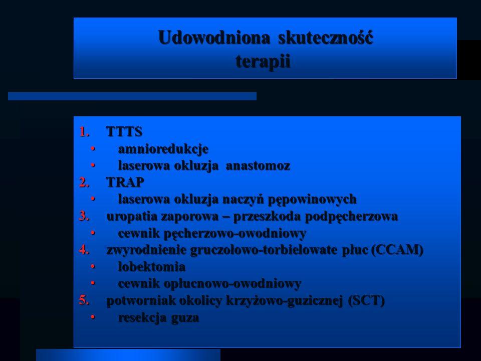 Udowodniona skuteczność terapii terapii 1. TTTS amnioredukcje amnioredukcje laserowa okluzja anastomoz laserowa okluzja anastomoz 2. TRAP laserowa okl