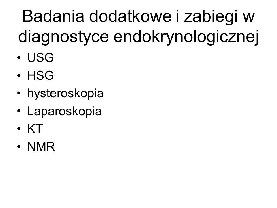 Badania dodatkowe i zabiegi w diagnostyce endokrynologicznej USG HSG hysteroskopia Laparoskopia KT NMR