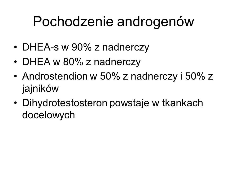 Pochodzenie androgenów DHEA-s w 90% z nadnerczy DHEA w 80% z nadnerczy Androstendion w 50% z nadnerczy i 50% z jajników Dihydrotestosteron powstaje w