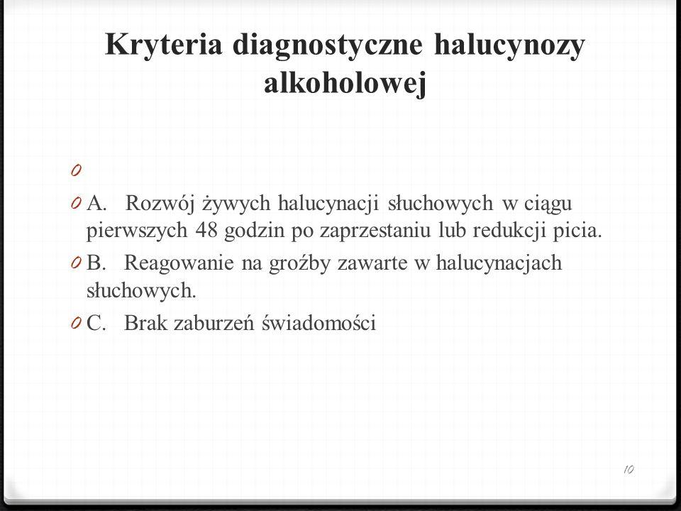 Kryteria diagnostyczne halucynozy alkoholowej 0 0 A. Rozwój żywych halucynacji słuchowych w ciągu pierwszych 48 godzin po zaprzestaniu lub redukcji pi