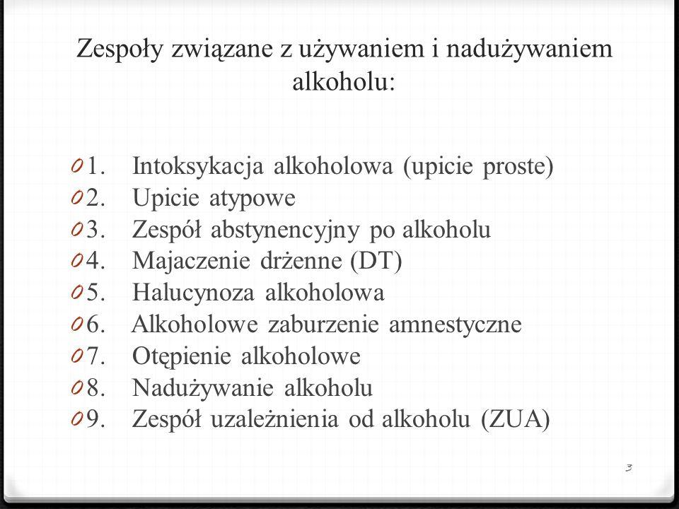 Zespoły związane z używaniem i nadużywaniem alkoholu: 0 1. Intoksykacja alkoholowa (upicie proste) 0 2. Upicie atypowe 0 3. Zespół abstynencyjny po al
