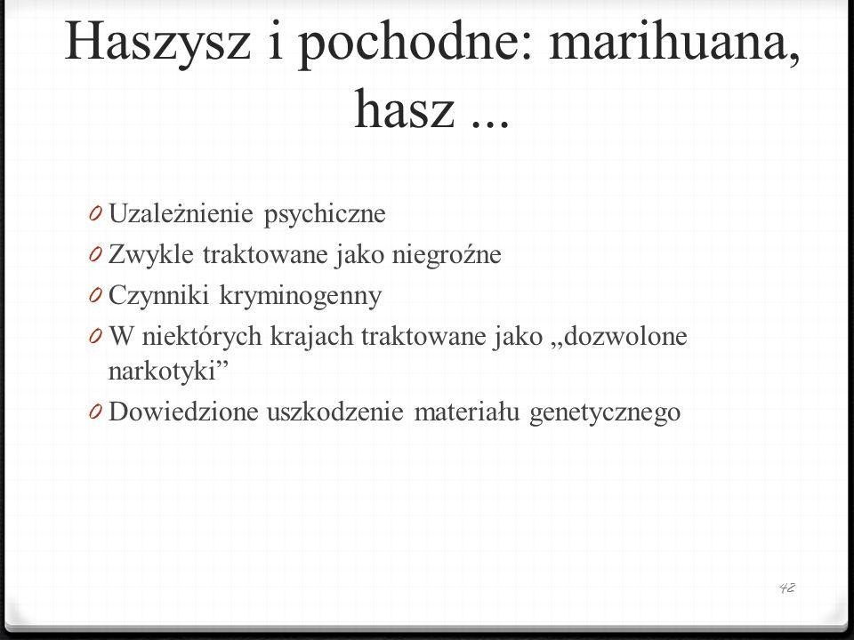 Haszysz i pochodne: marihuana, hasz... 0 Uzależnienie psychiczne 0 Zwykle traktowane jako niegroźne 0 Czynniki kryminogenny 0 W niektórych krajach tra
