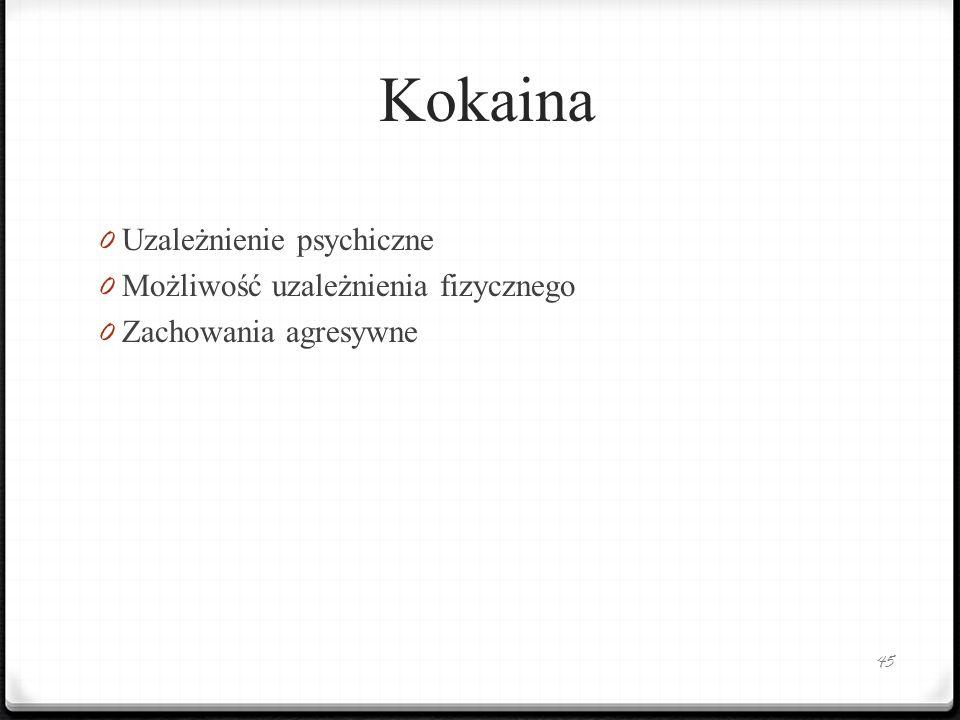 Kokaina 0 Uzależnienie psychiczne 0 Możliwość uzależnienia fizycznego 0 Zachowania agresywne 45