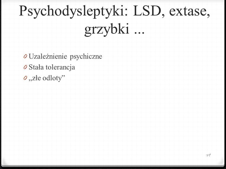 Psychodysleptyki: LSD, extase, grzybki... 0 Uzależnienie psychiczne 0 Stała tolerancja 0 złe odloty 49