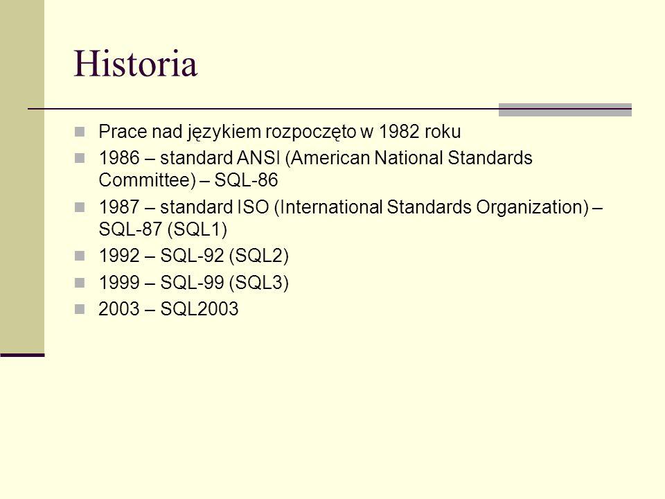 Przykład zapytania grupującego SELECT studenci.nazwisko || studenci.imie AS student, srednie. średnia FROM (SELECT oceny.id_studenta, AVG(oceny.ocena) AS średnia FROM oceny GROUP BY oceny.id_studenta) srednie NATURAL JOIN studenci