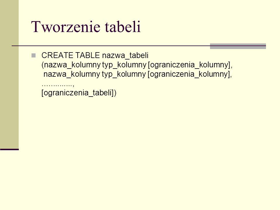 Przykład samozłączenia select PRACOWNICY . FIRST_NAME as Imię , PRACOWNICY . LAST_NAME as Nazwisko , SZEFOWIE . FIRST_NAME as Imię(szefa) , SZEFOWIE . LAST_NAME as Nazwisko(szefa) from EMPLOYEES PRACOWNICY LEFT JOIN EMPLOYEES SZEFOWIE ON PRACOWNICY . MANAGER_ID = SZEFOWIE . EMPLOYEE_ID