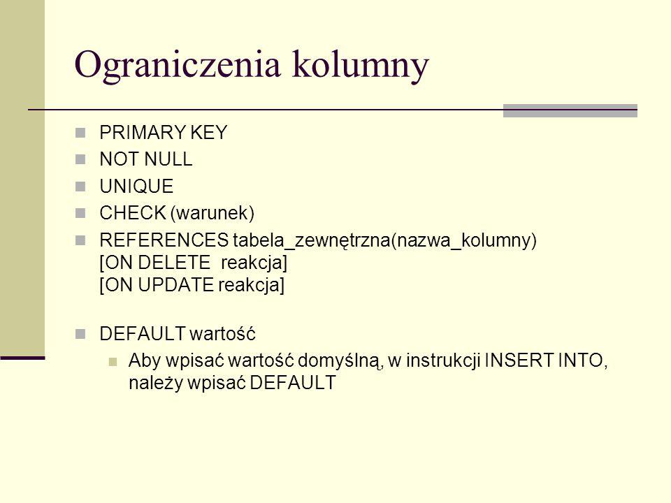 Ograniczenia tabeli PRIMARY KEY (nazwa_kolumny [,...]) UNIQUE (nazwa_kolumny [,...]) CHECK (warunek) FOREIGN KEY (nazwa_kolumny [,...]) REFERENCES tabela(nazwa_kolumny [,...]) [ON DELETE reakcja] [ON UPDATE reakcja] Ograniczenia tabeli można poprzedzić nazwą: CONSTRAINT Nazwa_ograniczenia Ograniczenie tabeli