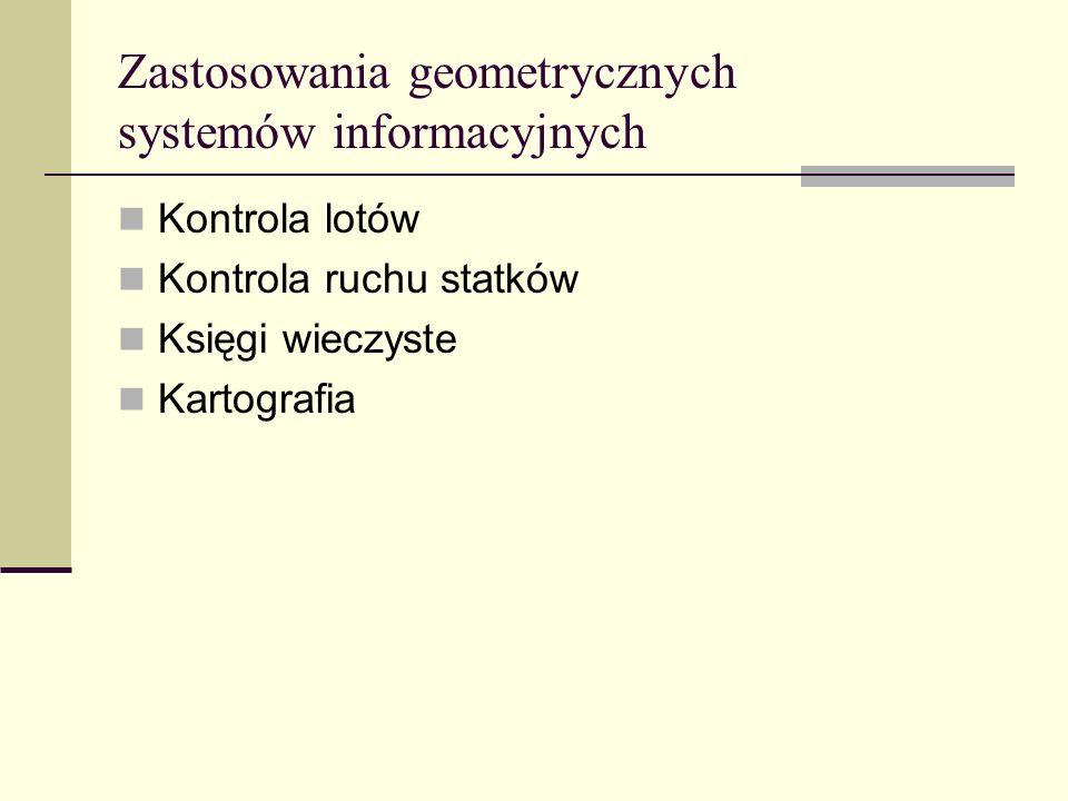 Zastosowania geometrycznych systemów informacyjnych Kontrola lotów Kontrola ruchu statków Księgi wieczyste Kartografia