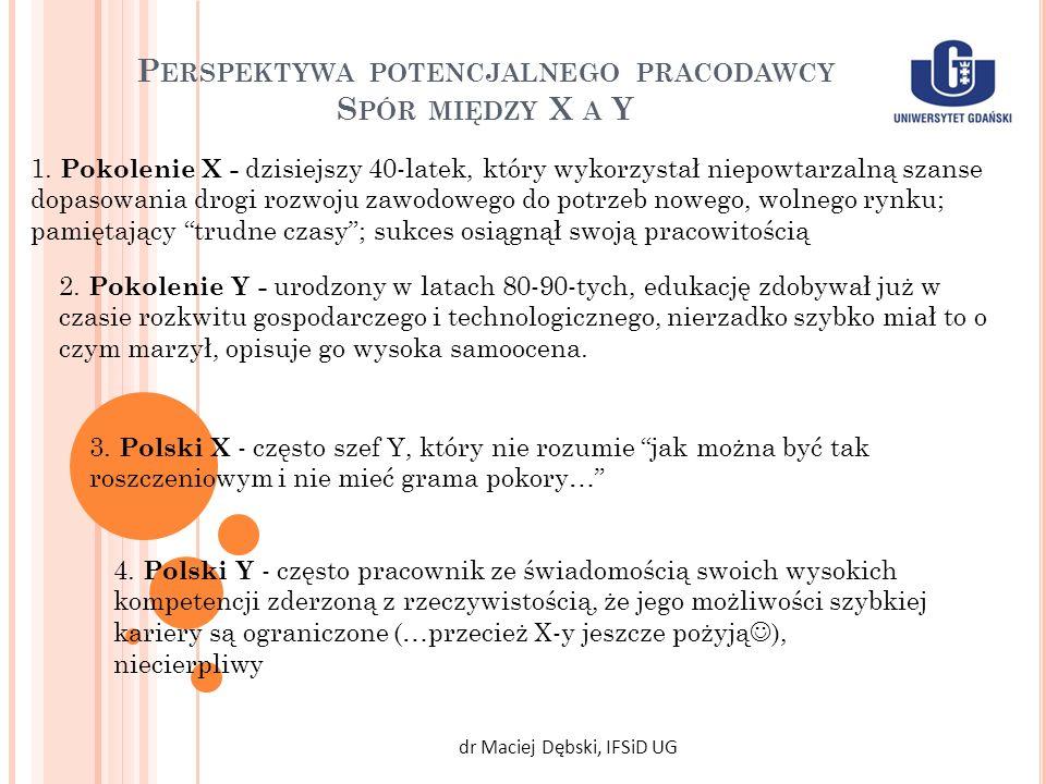 P ERSPEKTYWA POTENCJALNEGO PRACODAWCY S PÓR MIĘDZY X A Y dr Maciej Dębski, IFSiD UG 1. Pokolenie X - dzisiejszy 40-latek, który wykorzystał niepowtarz