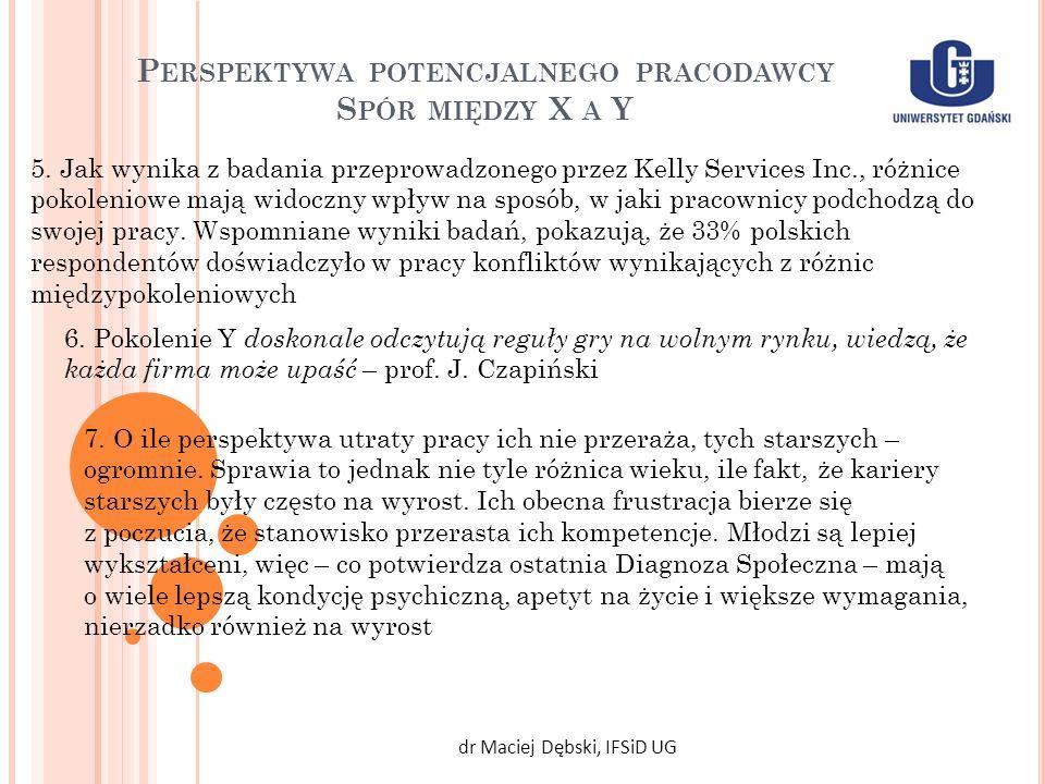 P ERSPEKTYWA POTENCJALNEGO PRACODAWCY S PÓR MIĘDZY X A Y dr Maciej Dębski, IFSiD UG 5. Jak wynika z badania przeprowadzonego przez Kelly Services Inc.