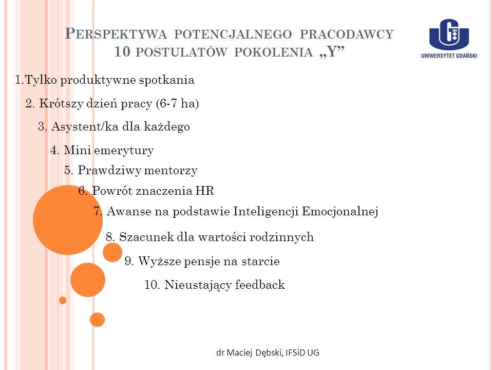 P ERSPEKTYWA POTENCJALNEGO PRACODAWCY 10 POSTULATÓW POKOLENIA Y dr Maciej Dębski, IFSiD UG 1.Tylko produktywne spotkania 2. Krótszy dzień pracy (6-7 h