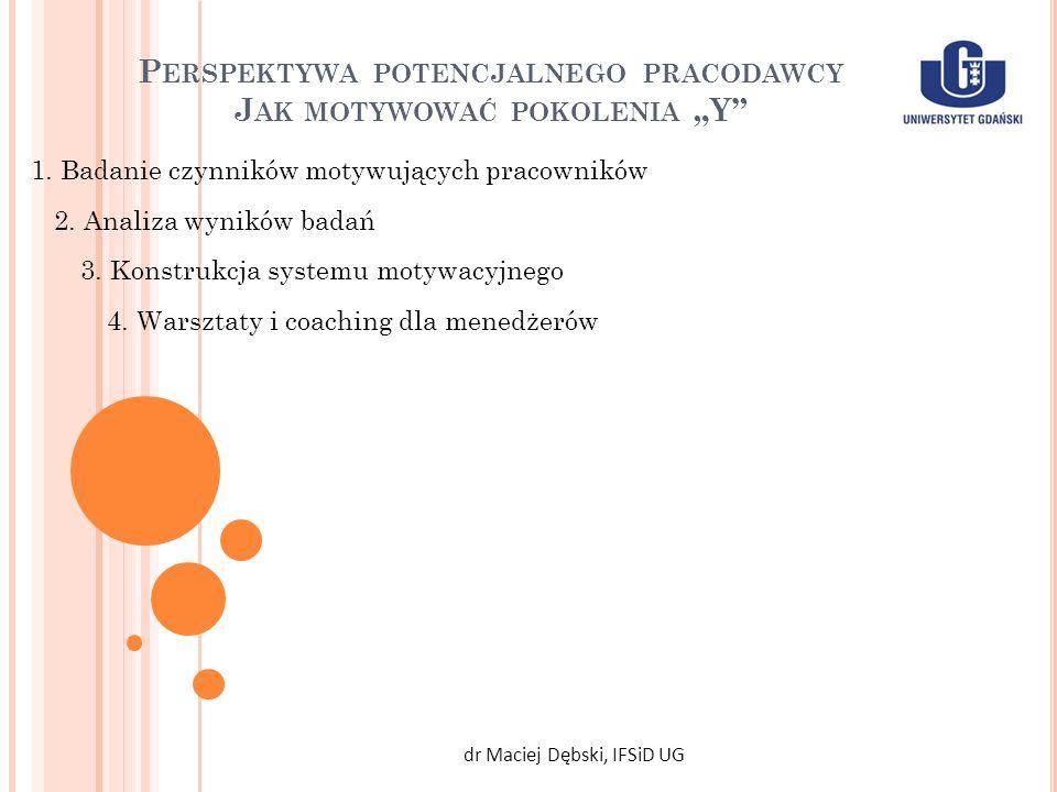 P ERSPEKTYWA POTENCJALNEGO PRACODAWCY J AK MOTYWOWAĆ POKOLENIA Y dr Maciej Dębski, IFSiD UG 1. Badanie czynników motywujących pracowników 2. Analiza w