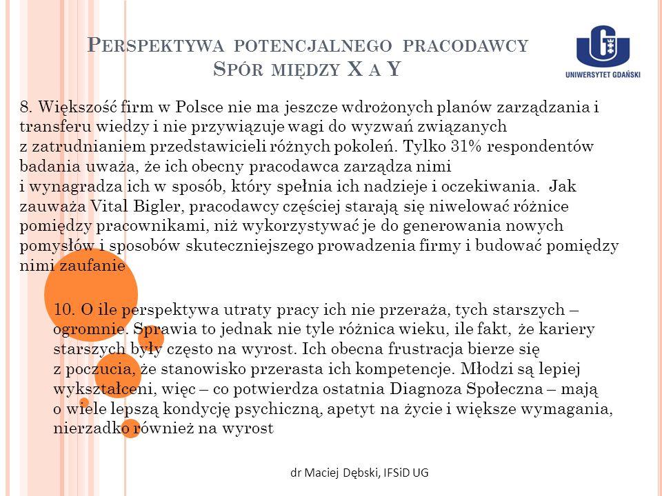 P ERSPEKTYWA POTENCJALNEGO PRACODAWCY S PÓR MIĘDZY X A Y dr Maciej Dębski, IFSiD UG 10. O ile perspektywa utraty pracy ich nie przeraża, tych starszyc