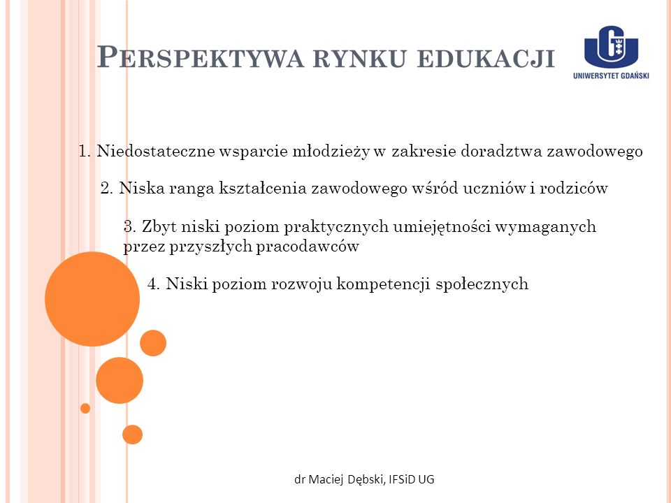 P ERSPEKTYWA RYNKU EDUKACJI dr Maciej Dębski, IFSiD UG 1. Niedostateczne wsparcie młodzieży w zakresie doradztwa zawodowego 2. Niska ranga kształcenia