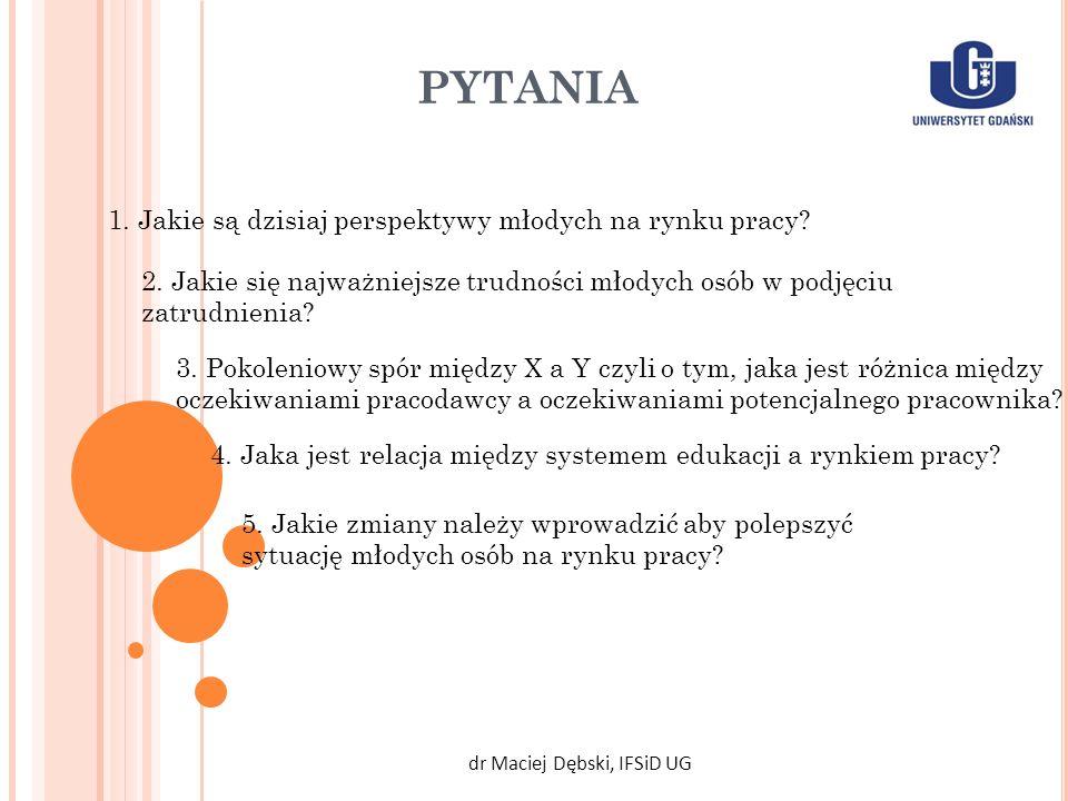 PYTANIA dr Maciej Dębski, IFSiD UG 1. Jakie są dzisiaj perspektywy młodych na rynku pracy? 2. Jakie się najważniejsze trudności młodych osób w podjęci