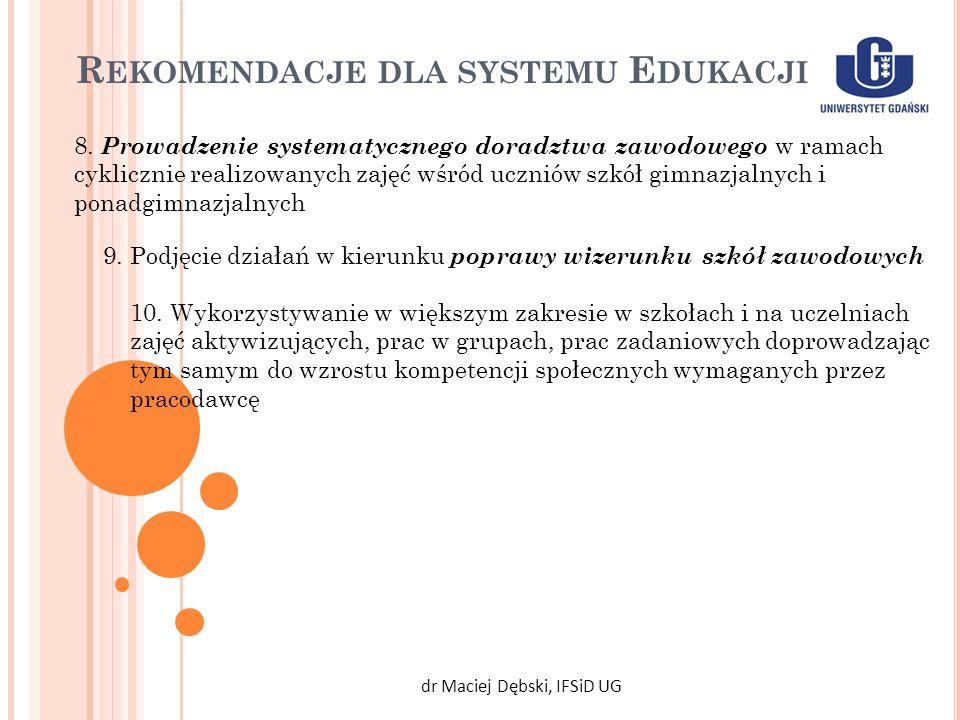 R EKOMENDACJE DLA SYSTEMU E DUKACJI dr Maciej Dębski, IFSiD UG 8. Prowadzenie systematycznego doradztwa zawodowego w ramach cyklicznie realizowanych z