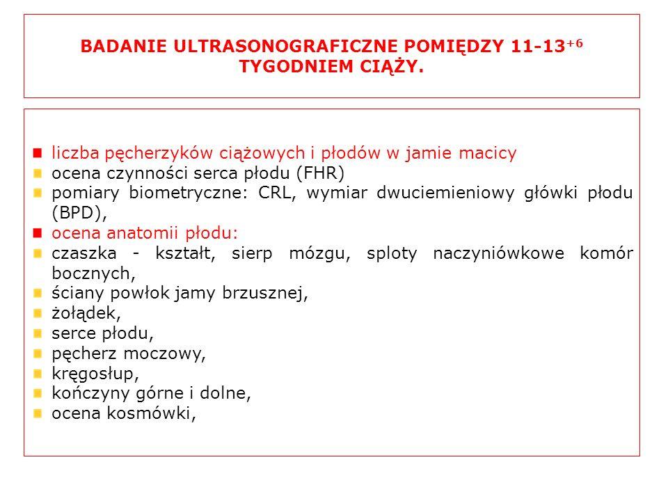 BADANIE ULTRASONOGRAFICZNE POMIĘDZY 11-13 +6 TYGODNIEM CIĄŻY. liczba pęcherzyków ciążowych i płodów w jamie macicy ocena czynności serca płodu (FHR) p