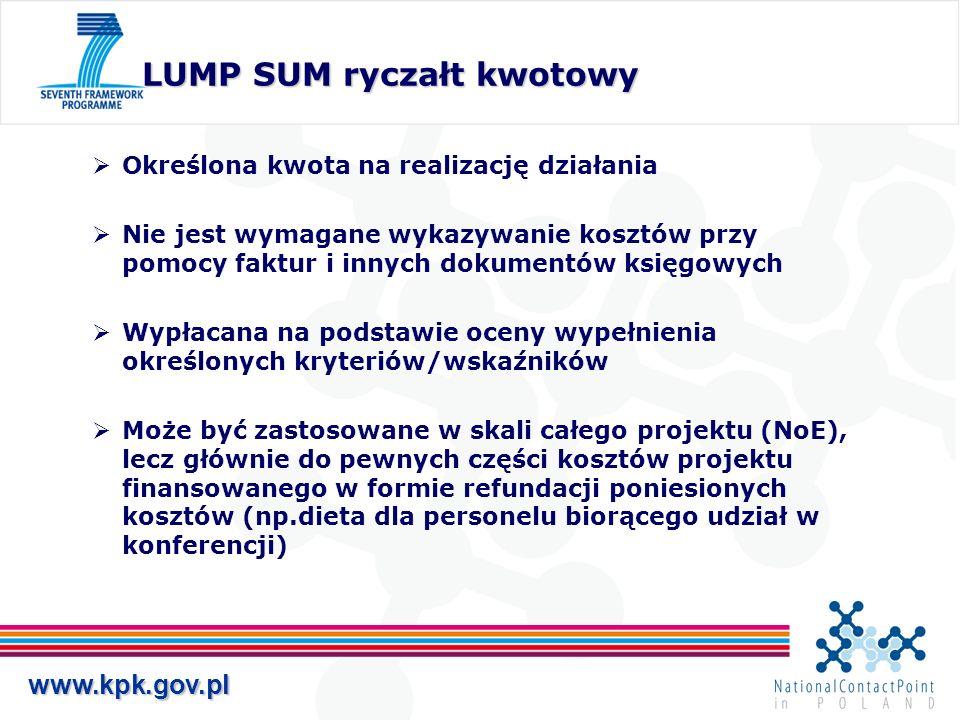www.kpk.gov.pl LUMP SUM ryczałt kwotowy Określona kwota na realizację działania Nie jest wymagane wykazywanie kosztów przy pomocy faktur i innych doku
