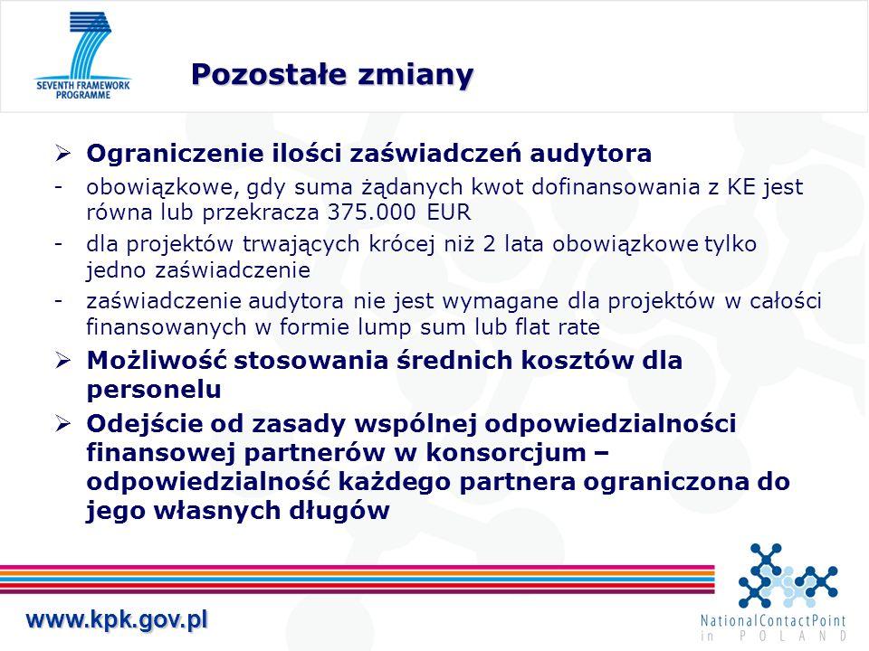 www.kpk.gov.pl Pozostałe zmiany Ograniczenie ilości zaświadczeń audytora obowiązkowe, gdy suma żądanych kwot dofinansowania z KE jest równa lub przek