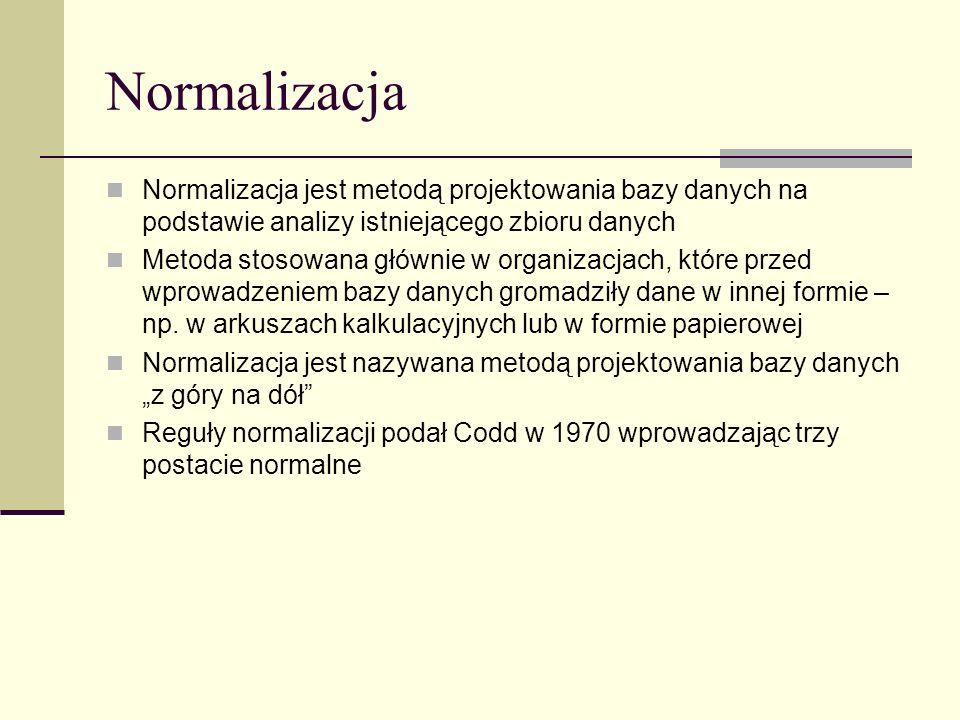 Normalizacja Normalizacja jest metodą projektowania bazy danych na podstawie analizy istniejącego zbioru danych Metoda stosowana głównie w organizacja