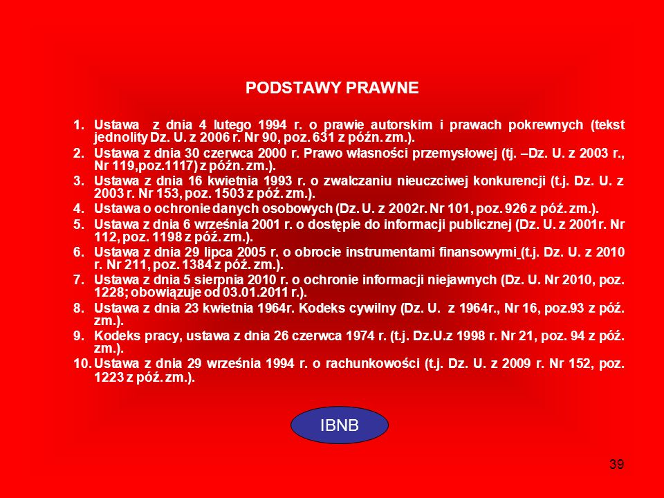 39 PODSTAWY PRAWNE 1.Ustawa z dnia 4 lutego 1994 r. o prawie autorskim i prawach pokrewnych (tekst jednolity Dz. U. z 2006 r. Nr 90, poz. 631 z późn.