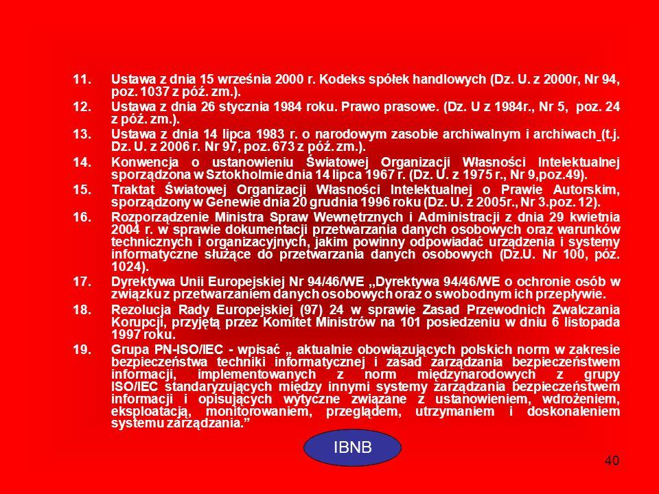 40 11.Ustawa z dnia 15 września 2000 r. Kodeks spółek handlowych (Dz. U. z 2000r, Nr 94, poz. 1037 z póź. zm.). 12.Ustawa z dnia 26 stycznia 1984 roku