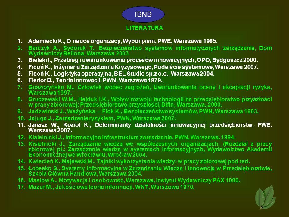 41 LITERATURA 1.Adamiecki K., O nauce organizacji, Wybór pism, PWE, Warszawa 1985. 2.Barczyk A., Sydoruk T., Bezpieczeństwo systemów informatycznych z