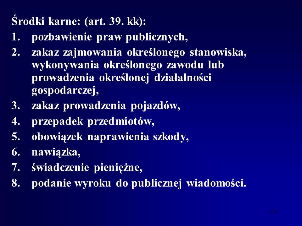 23 Karami są: (art. 32 kk): 1.grzywna, 2.ograniczenie wolności, 3.pozbawienie wolności, 4.25 lat pozbawienia wolności, 5.dożywotnie pozbawienie wolnoś