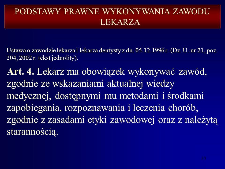 29 Podobne ustawowe regulacje prawne mają inne zawody medyczne: Ustawa z dnia 20 lipca 1950 r. o zawodzie felczera (Dz.U.04.53.531). Ustawa z dnia 5 l