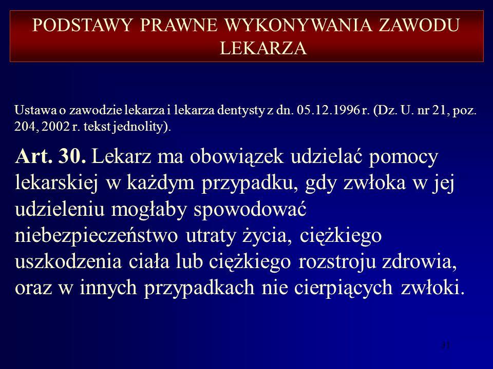 30 Ustawa o zawodzie lekarza i lekarza dentysty z dn. 05.12.1996 r. (Dz. U. nr 21, poz. 204, 2002 r. tekst jednolity). Art. 4. Lekarz ma obowiązek wyk